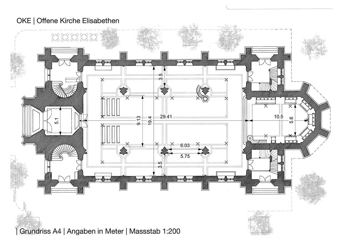 The ground plan of Open Church Elisabethen Basel