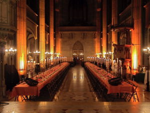Two facing banquet tables at the Elisabethenkirche