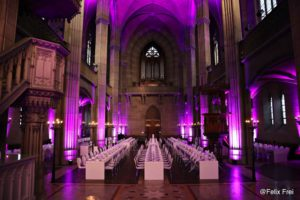 White setting illuminated with purple light