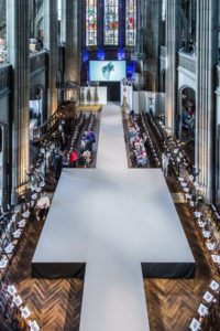 Catwalk show with plane lights at the Elisabethenkirche